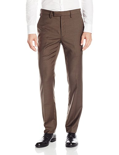Louis Raphael LUXE Men's Slim Fit Flat Front Stretch Wool Blend Dress Pant, Brown, 33W x 32L
