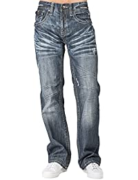 Men Relaxed Boot Cut Denim Distressed Jean Zipper Unique Pocket