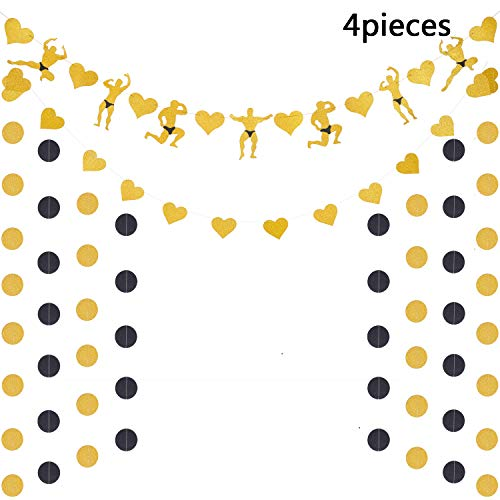 4 Pieces Bachelorette Banner Set Includes Male Strippers Banner Heart Banner Golden and Black Circle Banner for Singles Birthday Theme Party Supplies