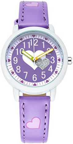 Happy Cherry Kids' Heart Pattern Candy Colors Wrist Watch Students Quartz Watches Leather Strap Purple