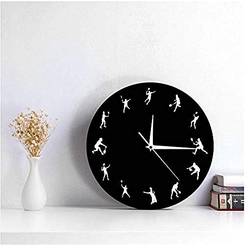 TRSMXYW Wall Clocks for Living Room Badminton Time Badminton Players Sillouette Birdie -