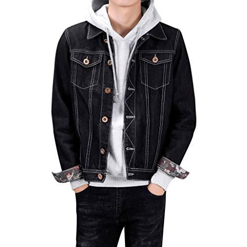 Zoilmxmen Mens Classic Denim Trucker Jacket, Mens Denim Pockets Pullover Long Sleeve Sweatshirt Tops Blouse Outwear Coat