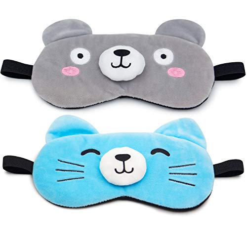 Gel Mask Blue Eye (Sleep Mask Cute Eye Mask with Gel pad, Hot & Cold Therapy for Insomnia Puffy Eyes, Super Soft and Light, for Sleeping, Shift Work,Blindfold Eyeshade for Men Women Kid)