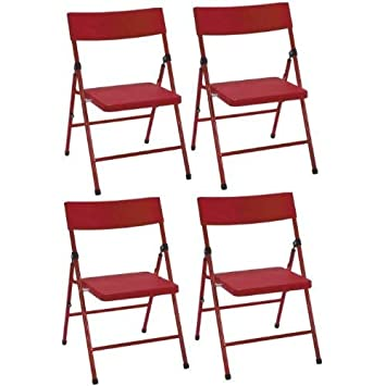 Cosco 14301RED4E Kid s Pinch-Free Folding Chair, 4 Pack, Red