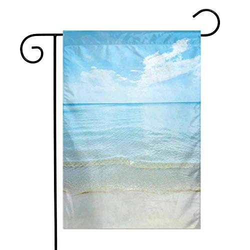 (Zmstroy Mini Flag Ocean Sunny Summer Day at The Sandy Beach Tranquil Calm Shore Sea Horizon Image Artprint Lawn Patio,12.5 x 18 Inch,Blue Cream)
