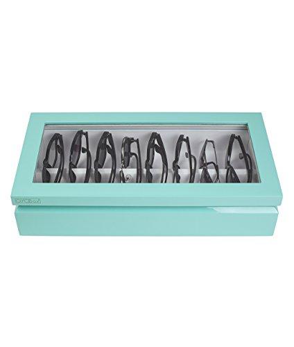 - OYOBox Maxi Luxury Eyewear Organizer, Lacquered Wood Box for Glasses + Sunglasses, Aqua
