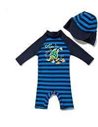 Bonverano(TM) Kids UPF 50+ Sun Protection S/S One Piece Zip Sun Suit With Sun Hat (3-6 months, Colorful fish)