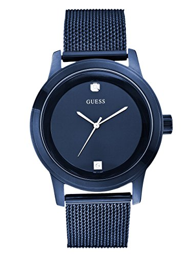 Guess Mens Black Ion Plated - GUESS Men's Stainless Steel Diamond Dial Mesh Bracelet Watch, Color: Blue (Model: U0297G2)