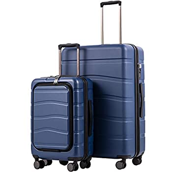 Image of COOLIFE Luggage Suitcase Carry On 100% PC Spinner Trolley with Laptop pocket Compartmnet Luggage Set (business blue, 2-piece Set) Luggage