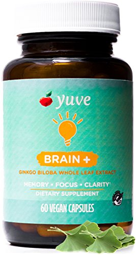 Yuve Vegan Brain Support Supplement – Promotes Memory, Mental Sharpenss & Focus – 60mg Natural & Pure Ginkgo Biloba Extract – Herbal Concentration Nootropic – Non-GMO, Gluten-Free – 60 Veggie Caps