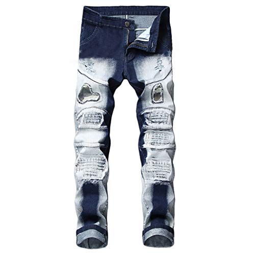 Flannel Duck Lined Dungaree Washed (NUWFOR Men's Stretchy Ripped Skinny Biker Jeans Destroyed Taped Slim Fit Denim Pants(Blue,US:35/AS:36 Waist:36.2