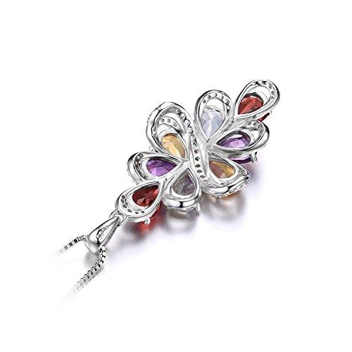 JewelryPalace luxe 5.6ct Poire Multicolore Naturel Améthyste Grenat Citrine Vert Améthyste Pendentif Collier 925 en Argent Sterling 18 Pouces