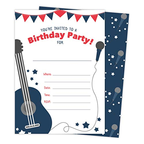 Guitar 1 Music Happy Birthday Invitations Invite Cards (25 Count) With Envelopes and Seal Stickers Vinyl Boys Girls Kids Party (25ct)