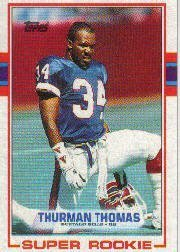1989 Topps Football Rookie Card IN SCREWDOWN CASE #45 Thurman Thomas Mint
