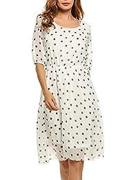 Meaneor Women's Summer Casual Polka Dots Chiffon Dress