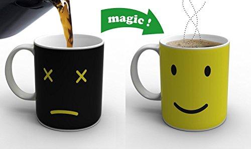 Cozyswan Porcelain Mug Mit Batterie Morph Kaffee Getränkewärmeempfindlicher Farbwechsel Becher Große Cup (Orange)