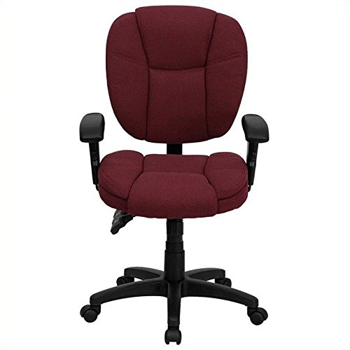 Flash Furniture Mid-Back Burgundy Fabric Multifunction Ergonomic Swivel Task Chair with Adjustable Arms Multifunction Task Chair