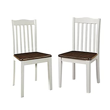 Dorel Living Shiloh Dining Chairs 2 Pack , Dark Walnut White