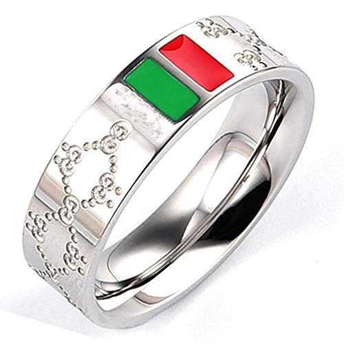 Fly.Dream Fashion Luxury Shine Celebrity Ring Classic Red and Green Bar Titanium Steel Ring (Silver, 9) (Best Men's Fashion Rings)