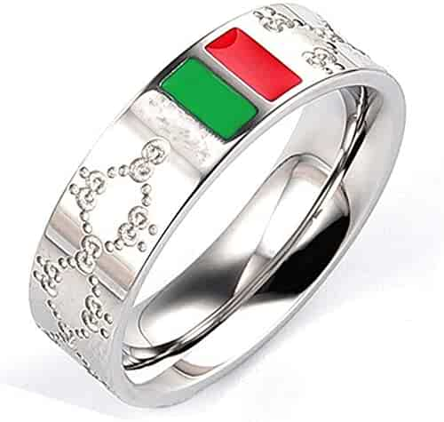 Stainless Steel Ring Chinese Characters Courage Love Thick Silver