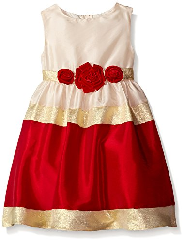 Rare Editions Little Girls' Colorblock Social Dress, Red/Gold/Ivory, 4