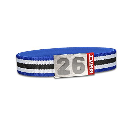 "fan products of BRAYCE Team Colors: Customize your jersey bracelet blue/white/black with your player number (0-99) 7 sizes (6,3"" – 8,7""): Hockey, Baseball, Basketball & Football"