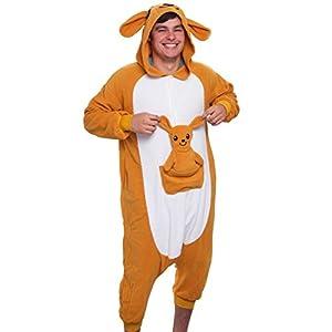 Silver Lilly Unisex Adult Pajamas - Plush One Piece Cosplay Kangaroo Animal Costume