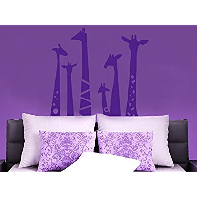 N.SunForest Set of 6 Animal Wall Sticker Giraffe Necks Safari Vinyl Wall Art Wall Decal Living Room Baby's Room Decor: Home & Kitchen