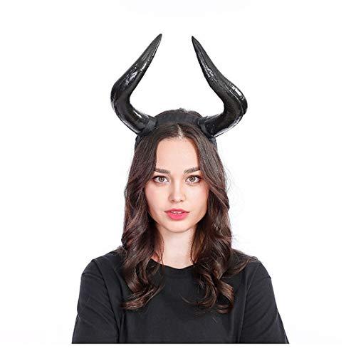 Qhome Handmade Halloween Costume Bulls Horns Headband Taurus Pointed Fight Minotaur Ox Horn Headpiece Cosplay]()