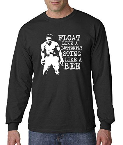 New Way 446 - Unisex Long-Sleeve T-Shirt Float Like A Butterfly Sting Like A Bee Muhammad Ali Champion XL Black