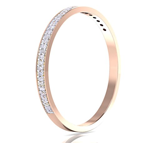 Buy Jewels 14k Gold Half Band Natural Diamond Wedding Anniversary Ring (1/10 cttw, G-H Color, I1-I2 Clarity) (Rose-Gold, 5)