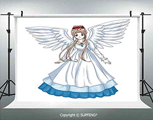 (Photography Background Cartoon Illustration of Cute Angel Wings and Flowers Fairytale Japanese Manga Print 3D Backdrops for Photography Backdrop Photo Background Studio Prop)