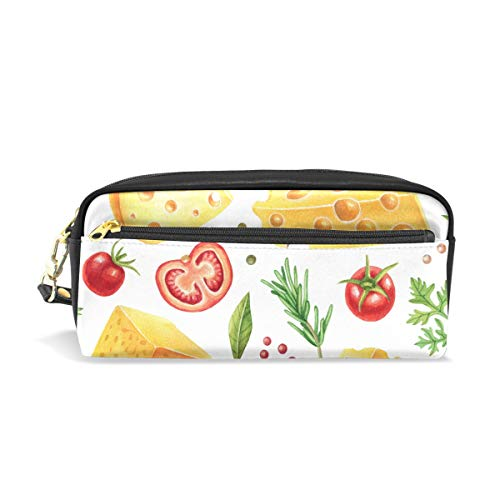 U Life Pencil Bag Pouch Case Pen Holder Box with Zipper for School Boys Girls Kids Vintage Cute Tomato Cheese ()