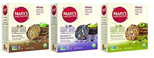 Marys Gone Crackers Super Seed Organic Crackers 3 Flavor Variety Bundle: (1) Everything, (1) Seaweed & Black Sesame, and (1) Basil & Garlic, 5.5 Oz. Ea. (3 Boxes Total)