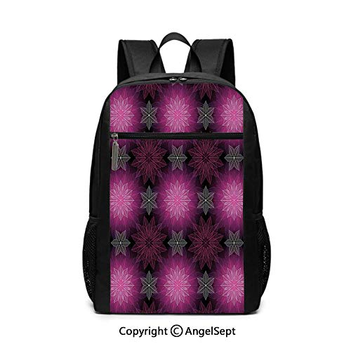 Large Capacity School Backpack,Radiant Fragmented Floral Flower Petals Pattern with Translucent Lotus Artwork,Plum Violet,6.5