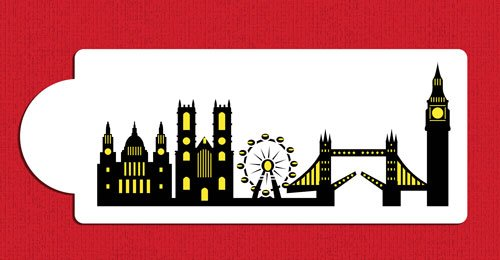 London Detailed Skyline Cake Stencil Side C1001 by Designer Stencils