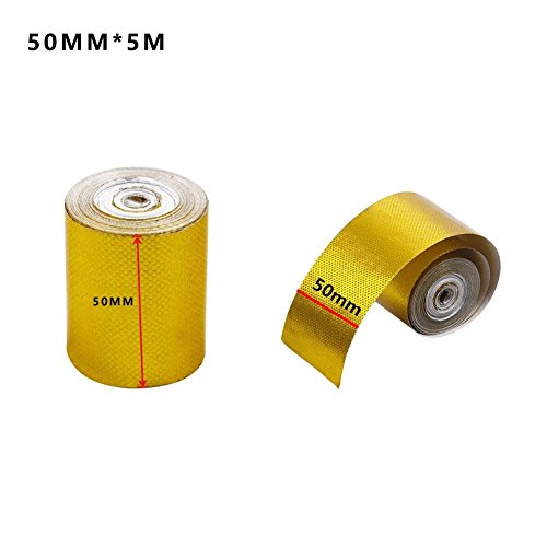 Professional Gold Foil Sealing Insulation Tape Grade Aluminumhigh Temperature Heat Reflective Adhesive Automotive Exhaust Pipe Decorative Shield Wrap Aluminum Patching Hot Cold Air Repair (50mm - Exhaust Engines
