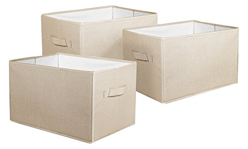 Lush Decor Fabric Covered 3 Piece Collapsible Storage Box Set, 16