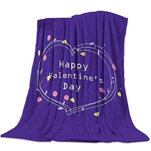 Flannel Fleece Bed Blanket 40x50 inch Valentine's Day Throw Blanket Lightweight Cozy Plush Blanket for Bedroom Living Rooms Sofa Couch - Heart Shaped Rose Flowers Wreath Purple (Wreath Heart Charm)