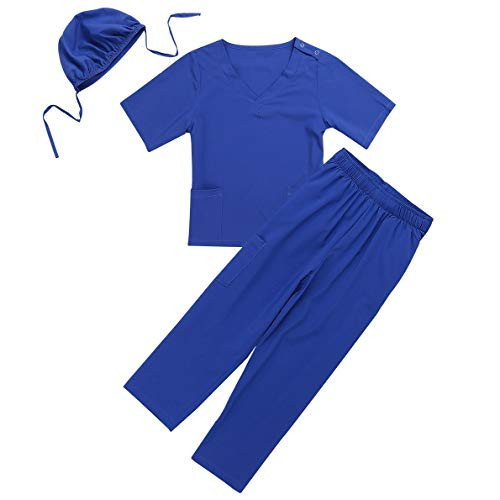 dPois Unisex Boys Girls' Little Doctors Nurses Surgeon Outfit with Surgical Cap 3PCS Set Halloween Cosplay Dress Up Blue 7-8 ()