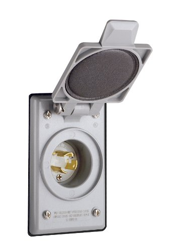 Leviton 4716-CWP 15 Amp, 125 Volt, Power Inlet Receptacle, Locking Blade, Industrial Grade, Self Grounding, Gray