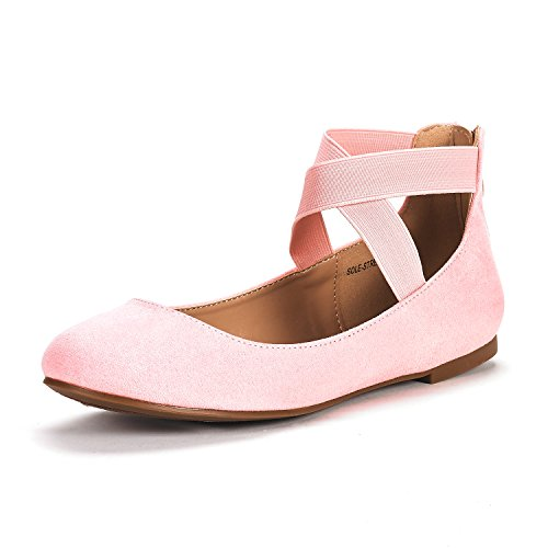 DREAM PAIRS Women's Sole_Stretchy Pink Fashion Elastic Ankle Straps Flats Shoes Size 6 M -