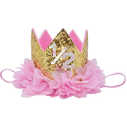 Half Birthday Crown Baby Girl Flower Tiara Headband Party Hat Hairband