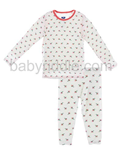 Kickee Pants Little Girls Custom Print Long Sleeve Pajama Set, Natural Rose Bud, Girls 5 Years
