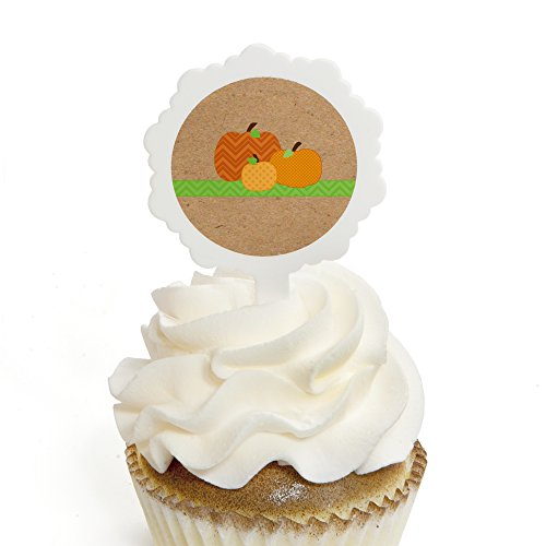 Pumpkin Patch - Cupcake Picks with Fall & Thanksgiving Stickers - Party Cupcake Toppers - 12 Count ()
