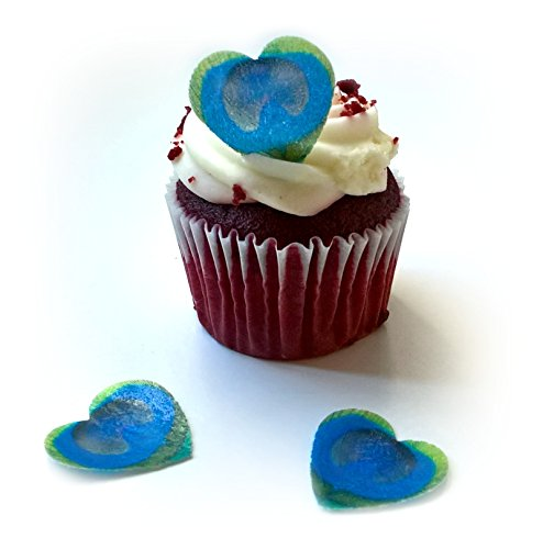 - 24 Blue Teal Lime Green Heart Love Edible Wafer Paper Peacock Feathers Very Small 0.75
