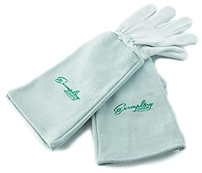 Rose Pruning Gloves for Men and Women. Thorn Proof Goatskin Leather Gardening Gloves with Long Cowhide Gauntlet to Protect Your Arms Until the Elbow