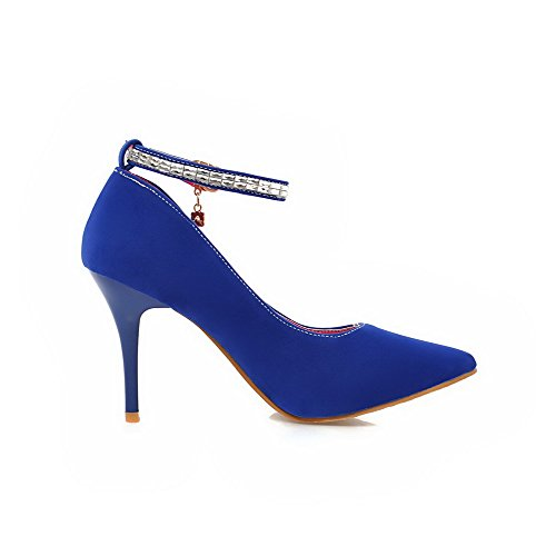 Odomolor Women's Solid Frosted High-Heels Buckle Pointed-Toe Pumps-Shoes, Blue, 36