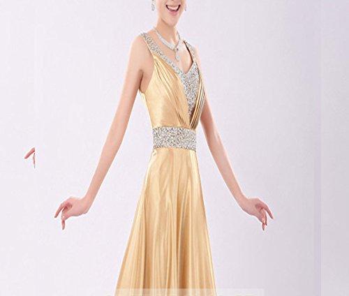 da costumes giallo tostato sezione collo della delle V dell'abbigliamento GHSSJH di la sera lunga nozze L'abito del pane sposa del spalle a PYnx5Cxq4