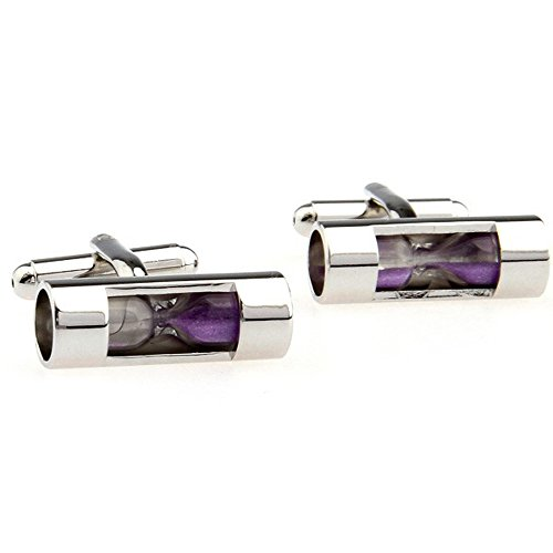 The Masonic Exchange Hour Glass Purple Sand Silver Cufflink Set Gift Boxed - 7/8